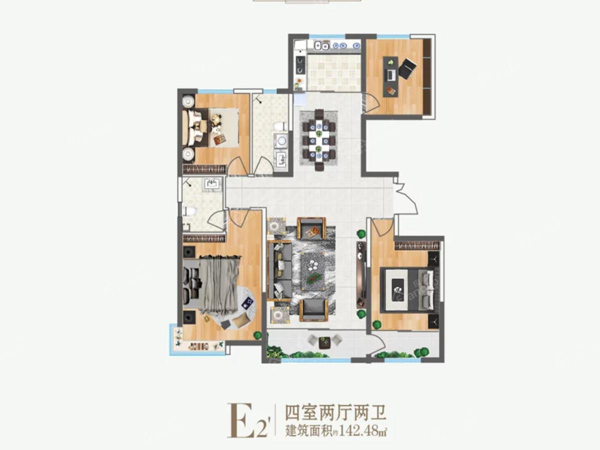 吴忠·黄河明珠4室2厅2卫户型图