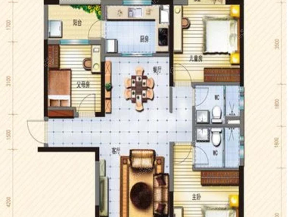 碧桂园观澜苑3室2厅2卫户型图