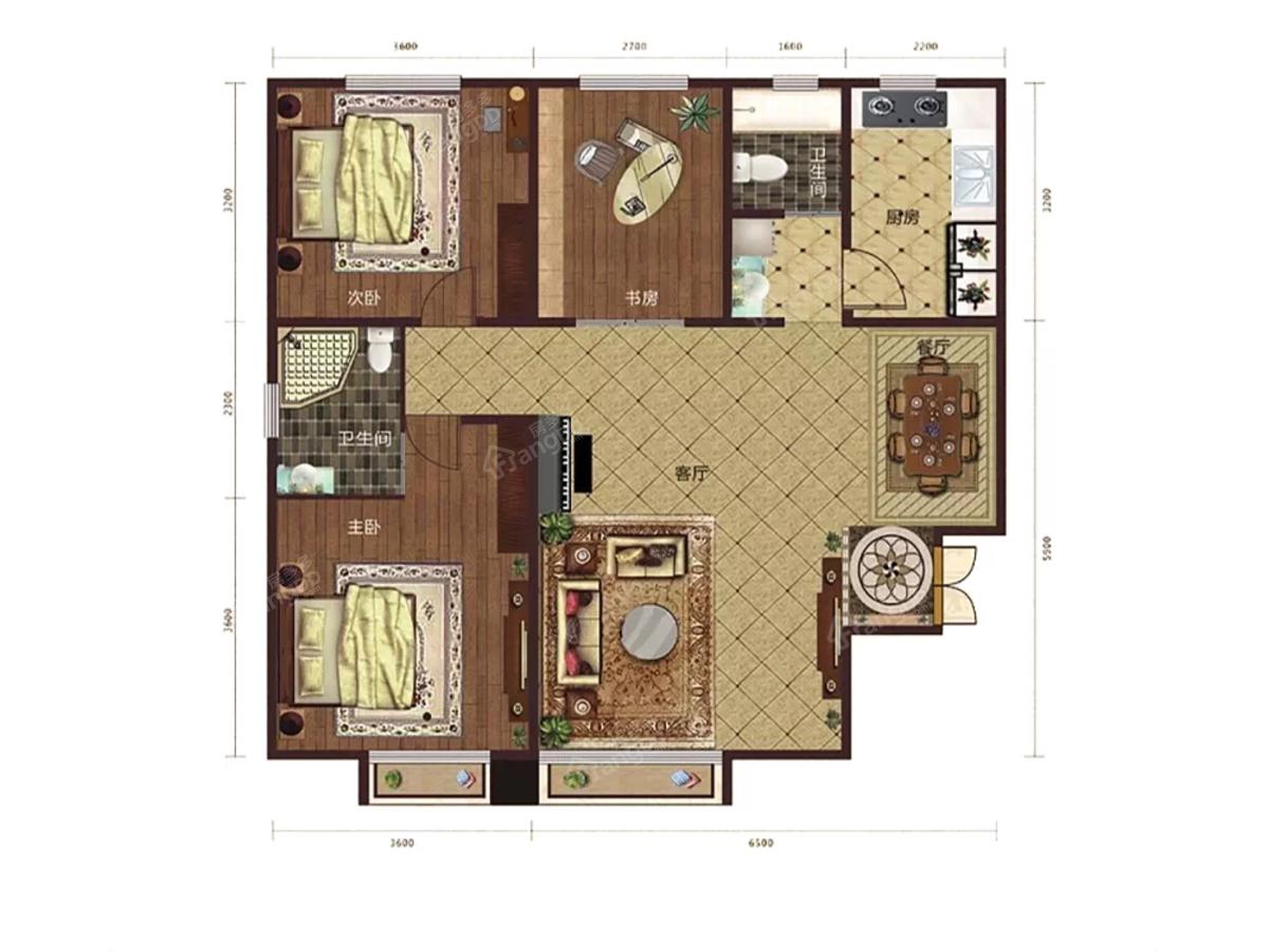 通嘉东方御景3室2厅2卫户型图