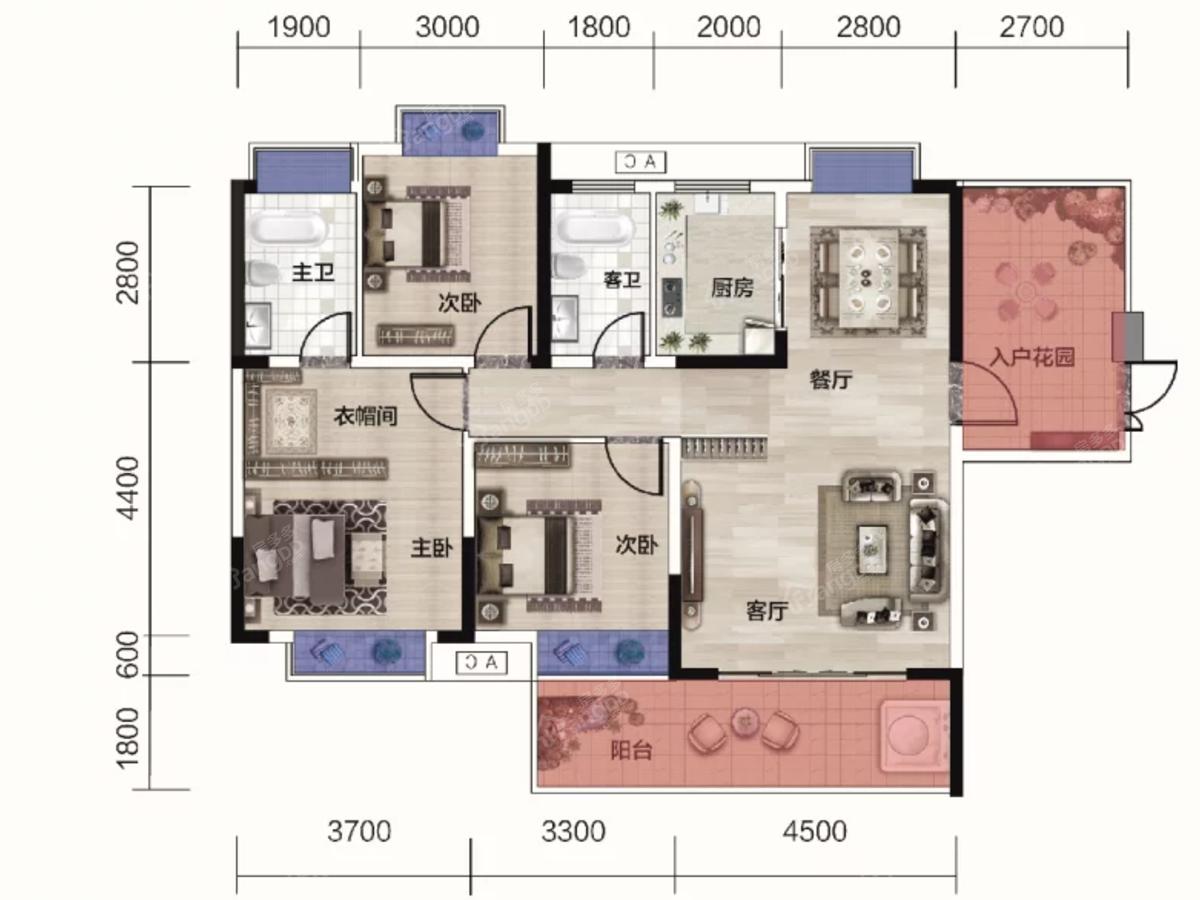 时代华府3室2厅2卫户型图