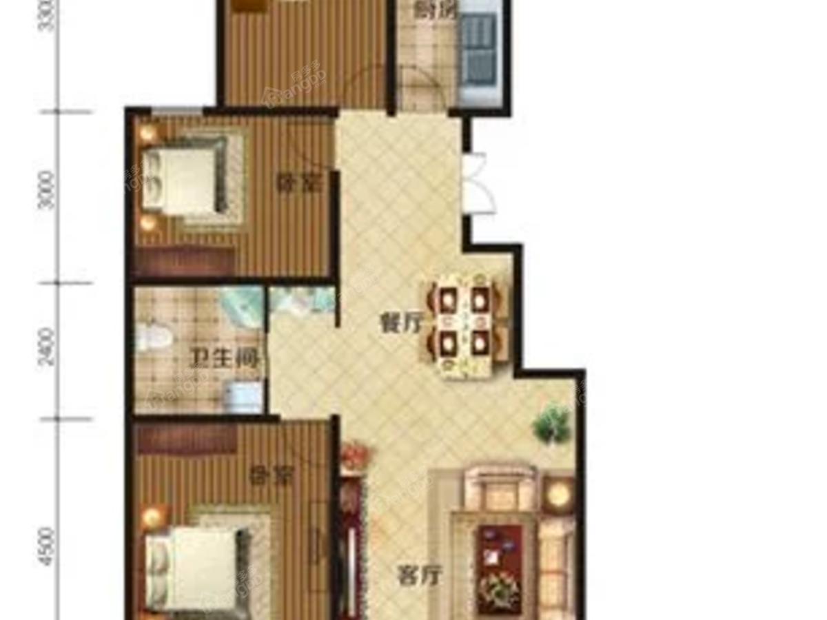 七星花园3室2厅1卫户型图