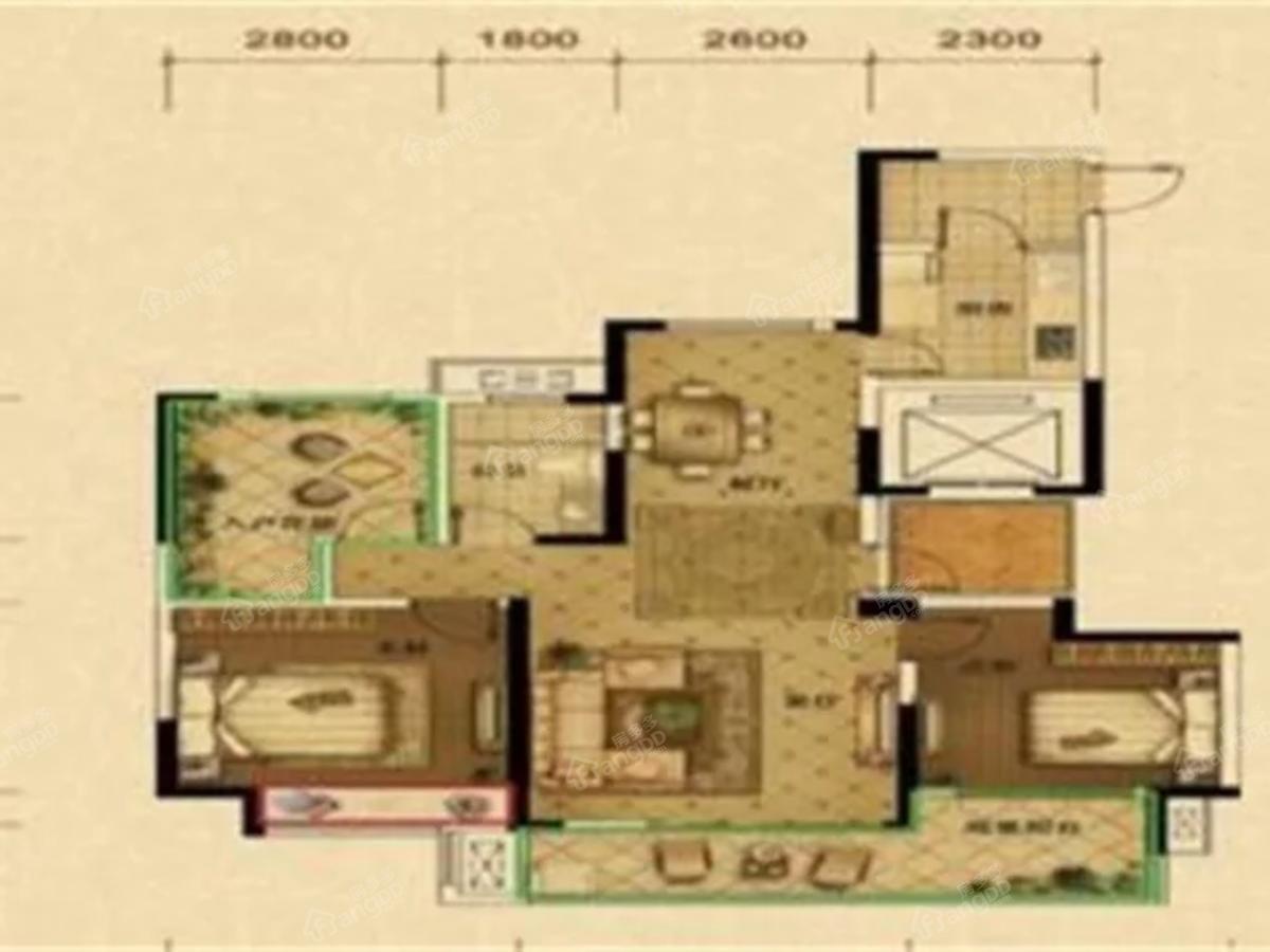 恒圣·至尊尚城3室2厅1卫户型图