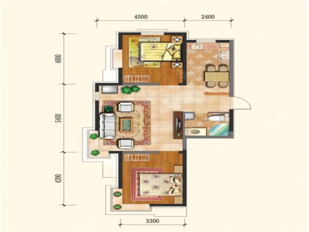 幸福阳光2室2厅2卫户型图
