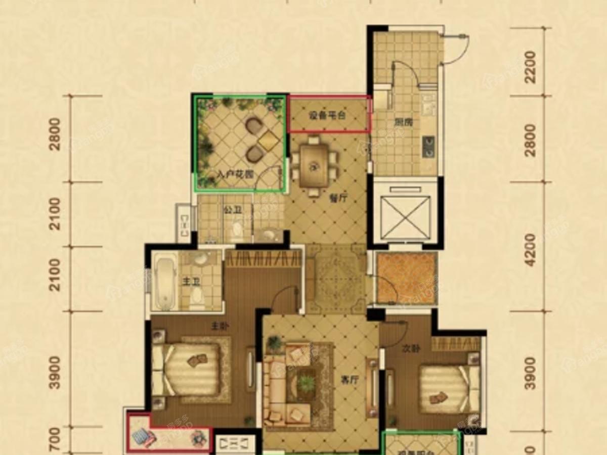 恒圣·至尊尚城3室2厅2卫户型图