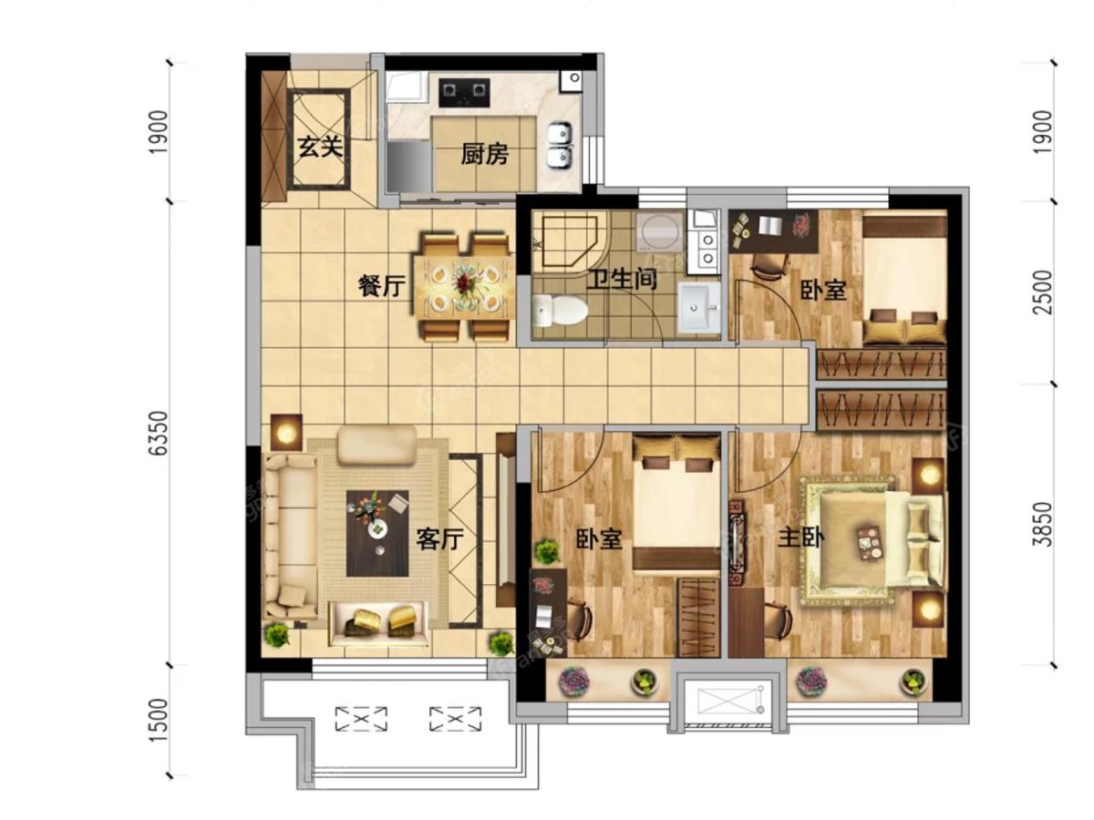 本溪碧桂园·溪山云著3室2厅1卫户型图