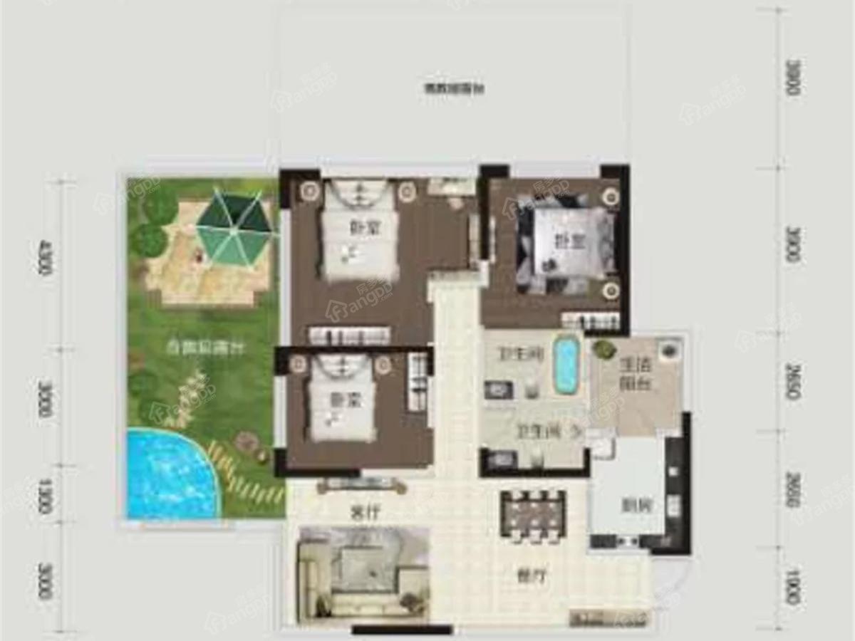 国力花海森林3室2厅2卫户型图
