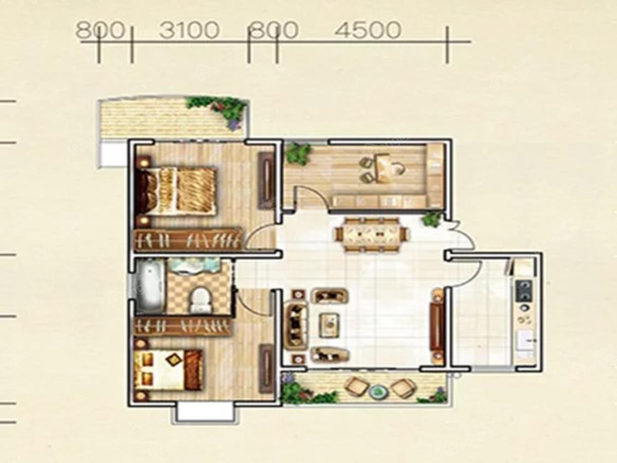 华诚大都汇3室2厅1卫户型图