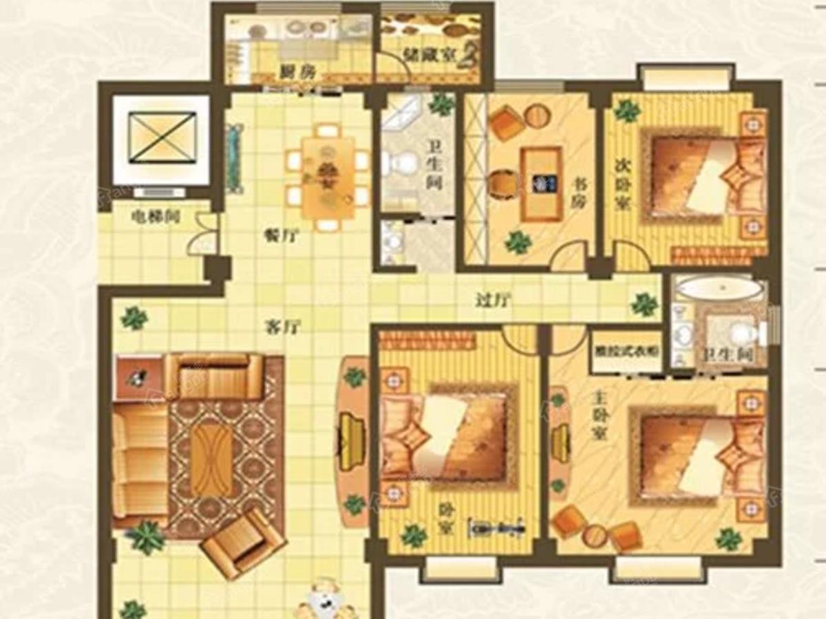 润和居二期4室2厅2卫户型图