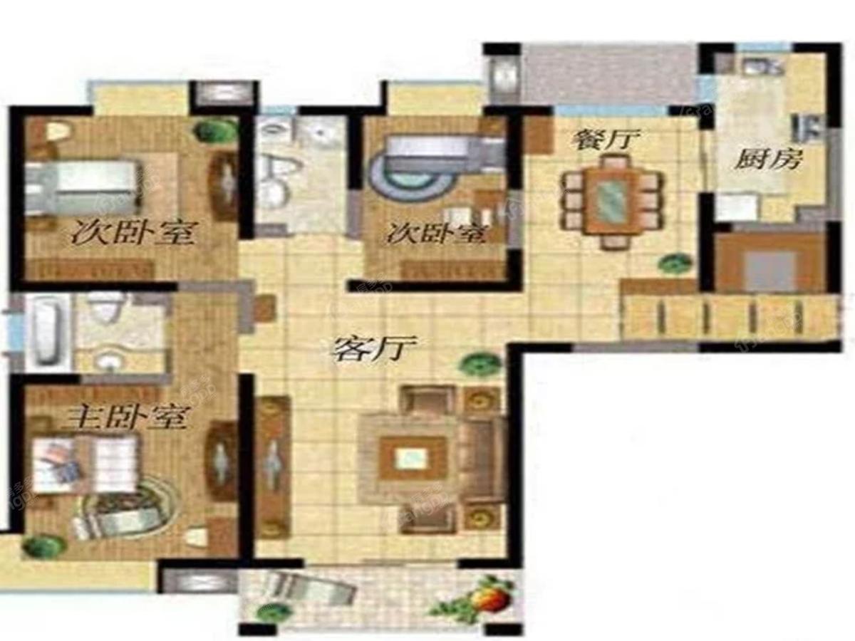 德宏鼎金龙辰花园3室2厅1卫户型图
