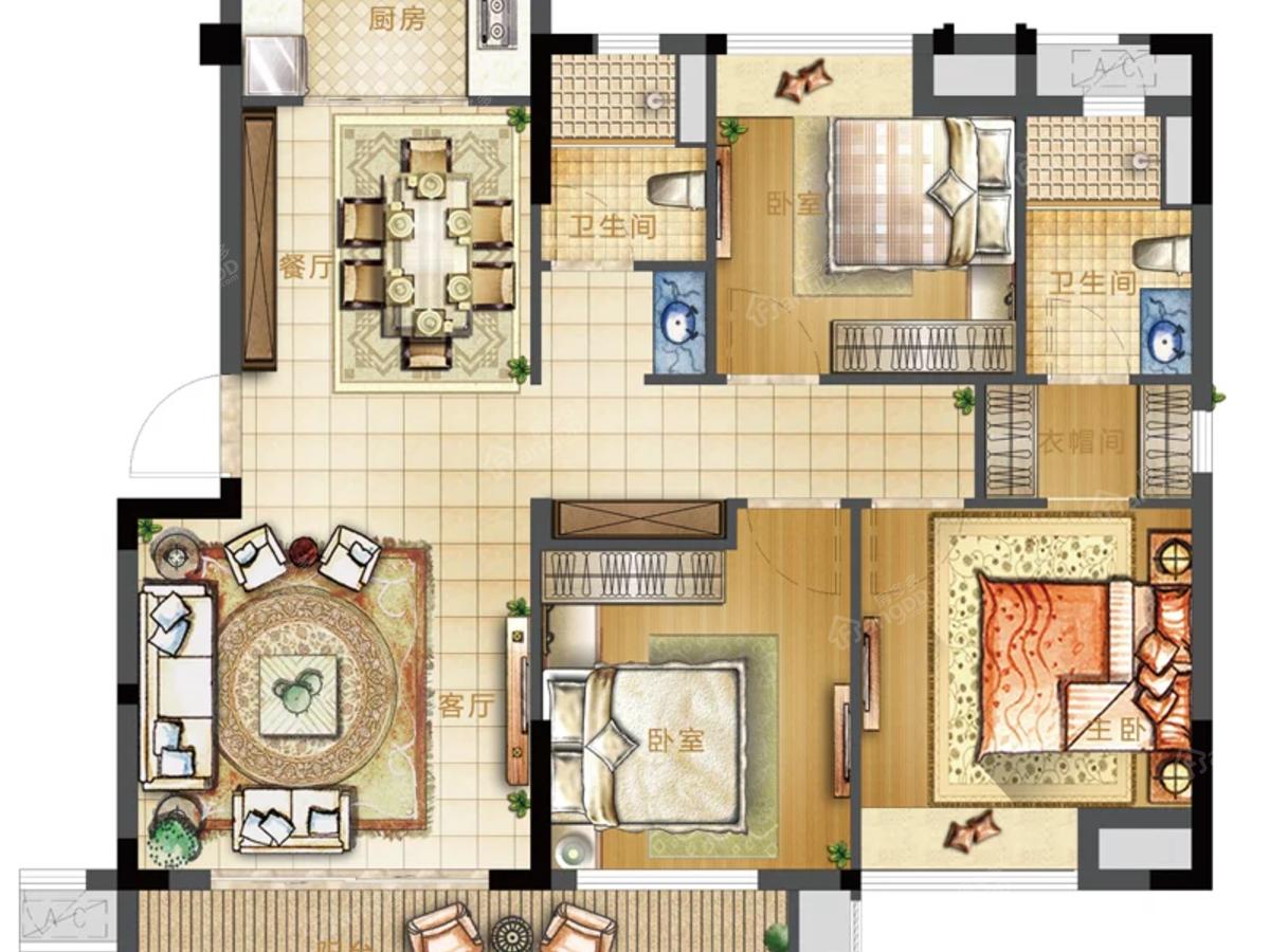 沙县世茂璀璨新城3室2厅2卫户型图