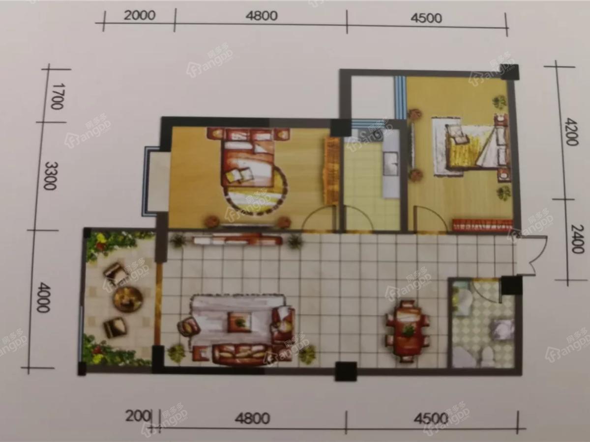 世贸花园四期2室2厅1卫户型图