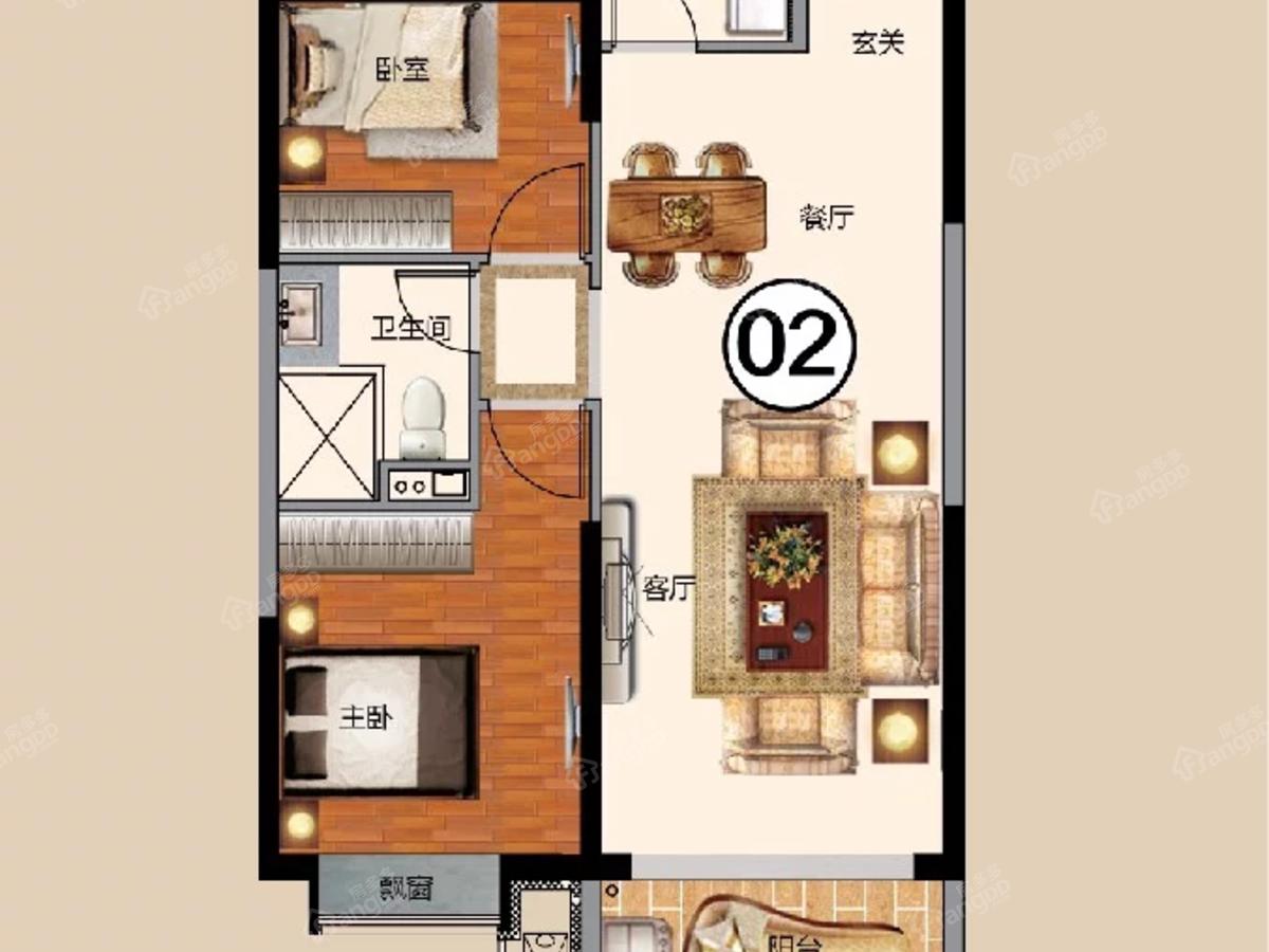 抚顺恒大华府2室2厅1卫户型图