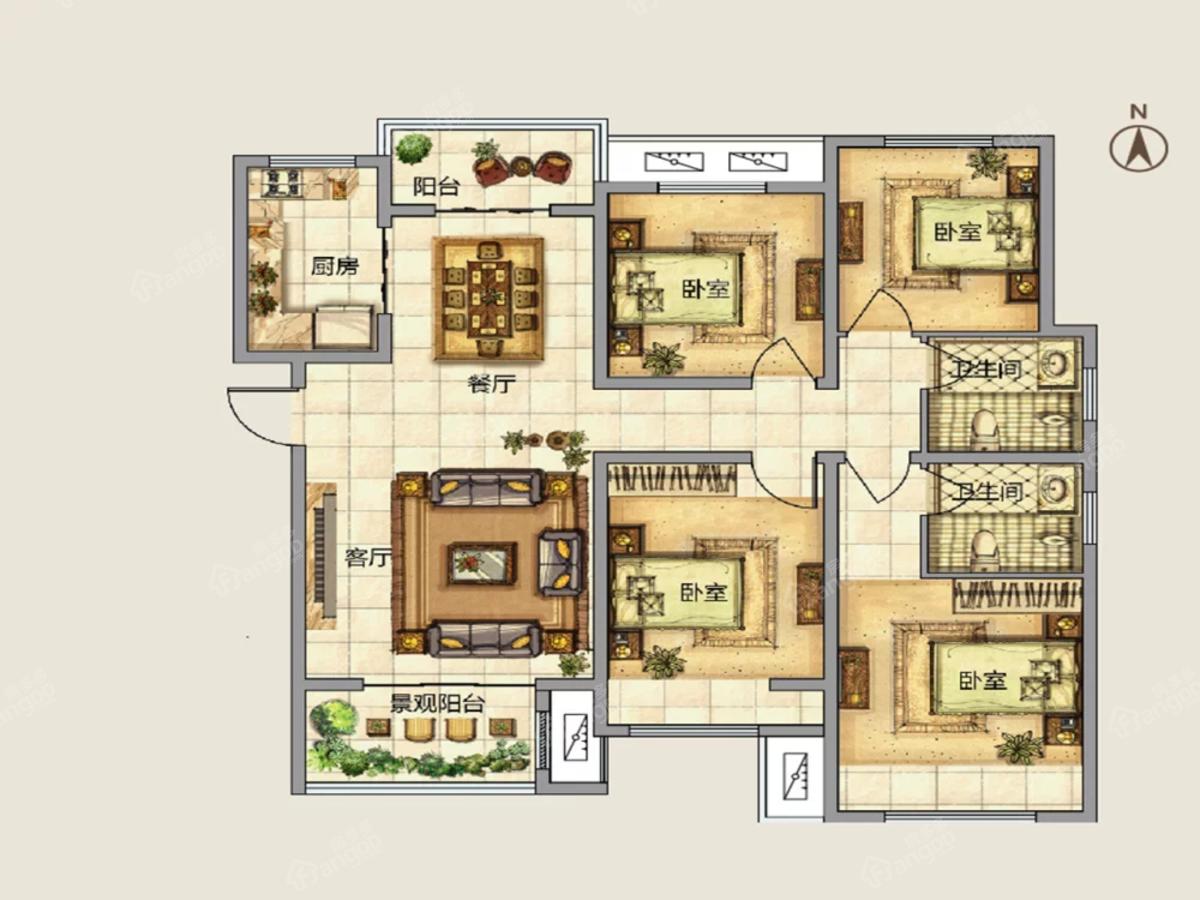 建业春天里4室2厅2卫户型图