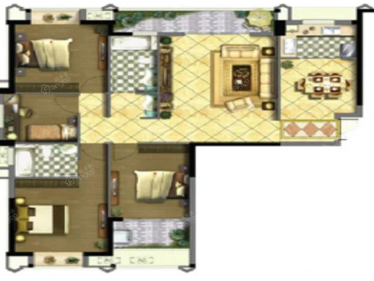 兄弟唐人街4室2厅2卫户型图