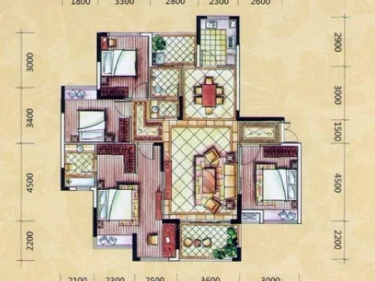艺芳新城4室2厅2卫户型图