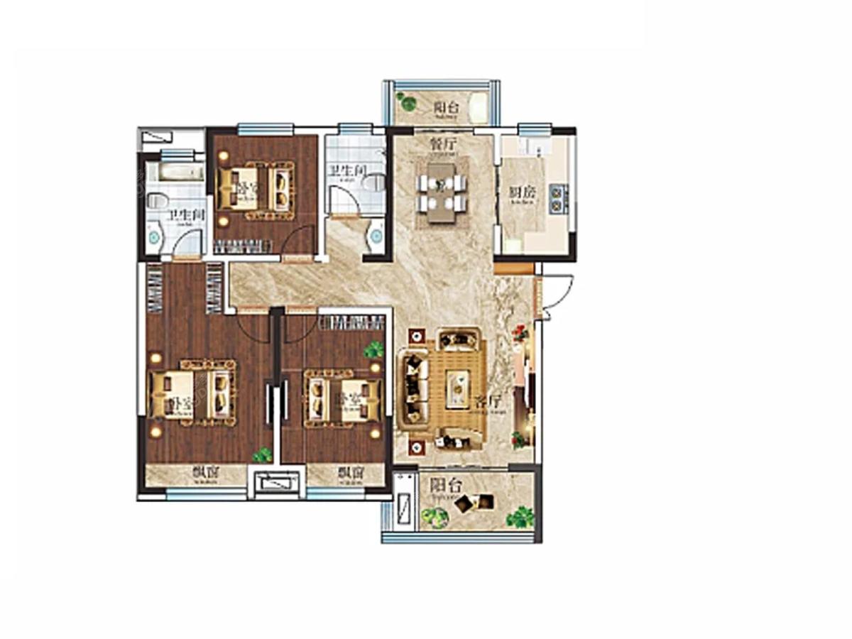 邓州建业·公园里3室2厅2卫户型图