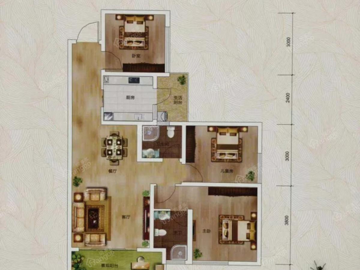阳光·巨林天下城3室2厅2卫户型图