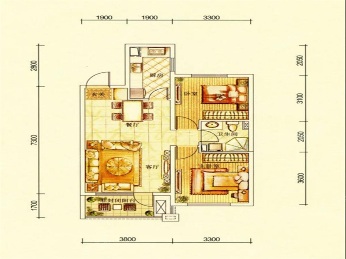华润·幸福里2室2厅1卫户型图