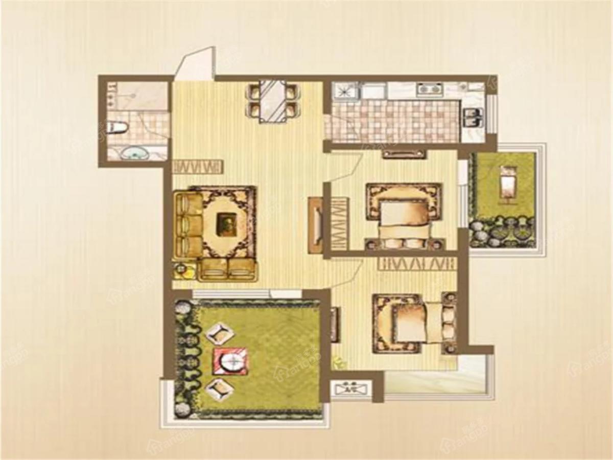 中房金沙滩澜湾2室2厅1卫户型图