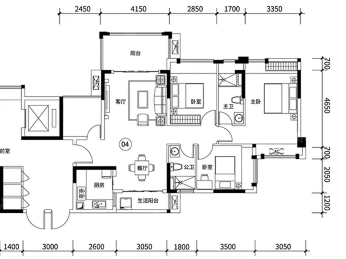 万洲悦华府4室2厅2卫户型图
