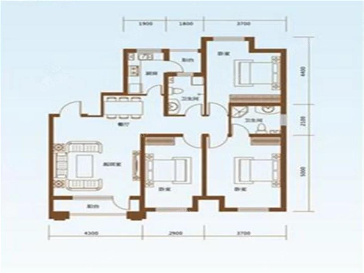 榆林华苑3室2厅2卫户型图