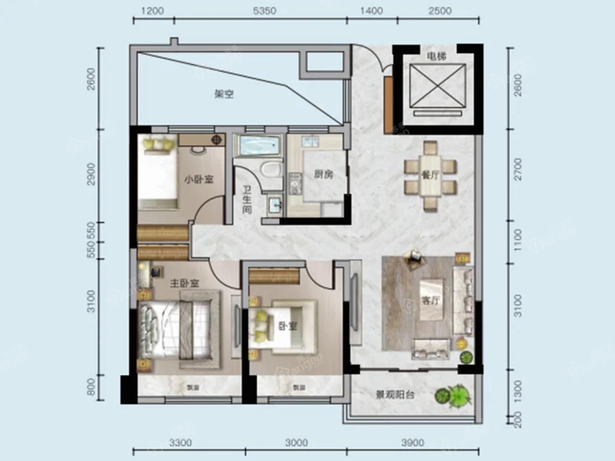 中核顺安府3室2厅1卫户型图