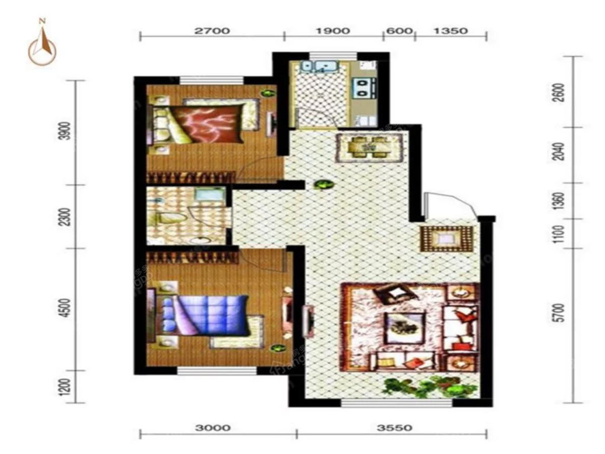 泓宇·中央一品2室2厅1卫户型图