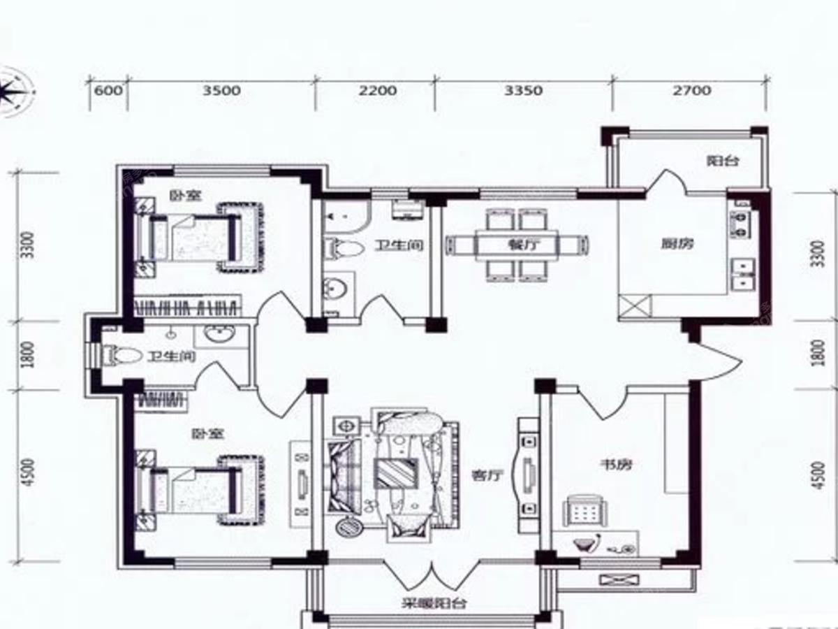 学伟鑫城3室2厅2卫户型图