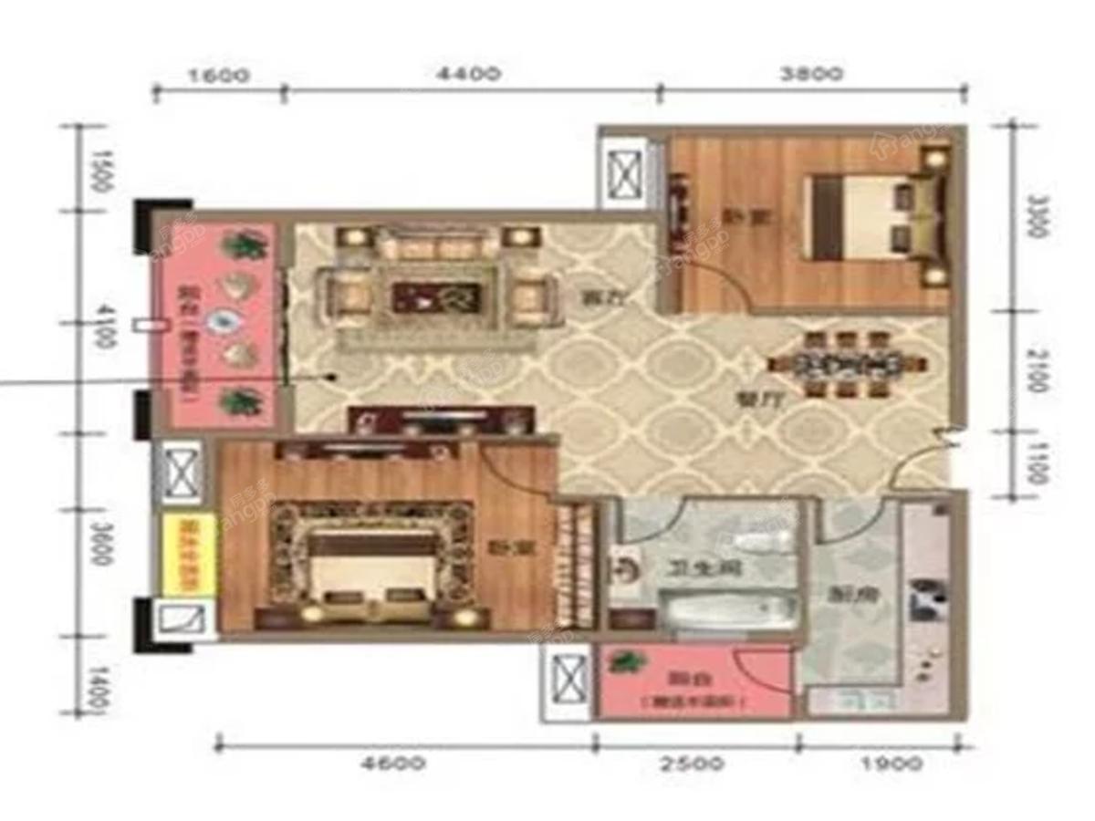 永丰财富家园2室2厅1卫户型图