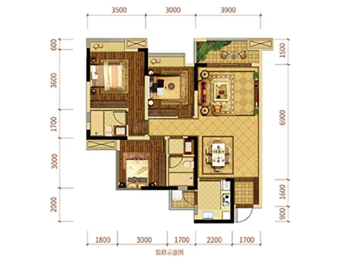 优筑·印江洲3室2厅2卫户型图