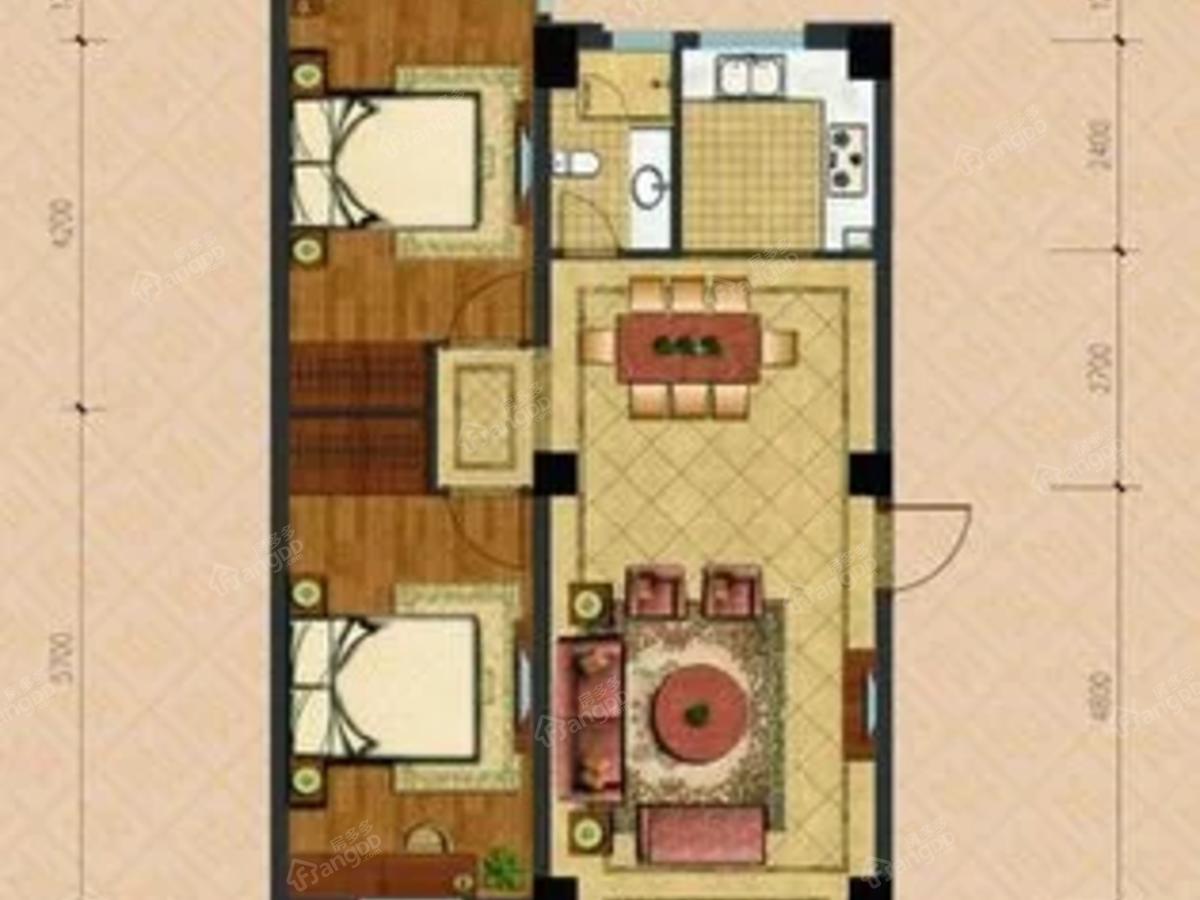 天安名门2室2厅1卫户型图