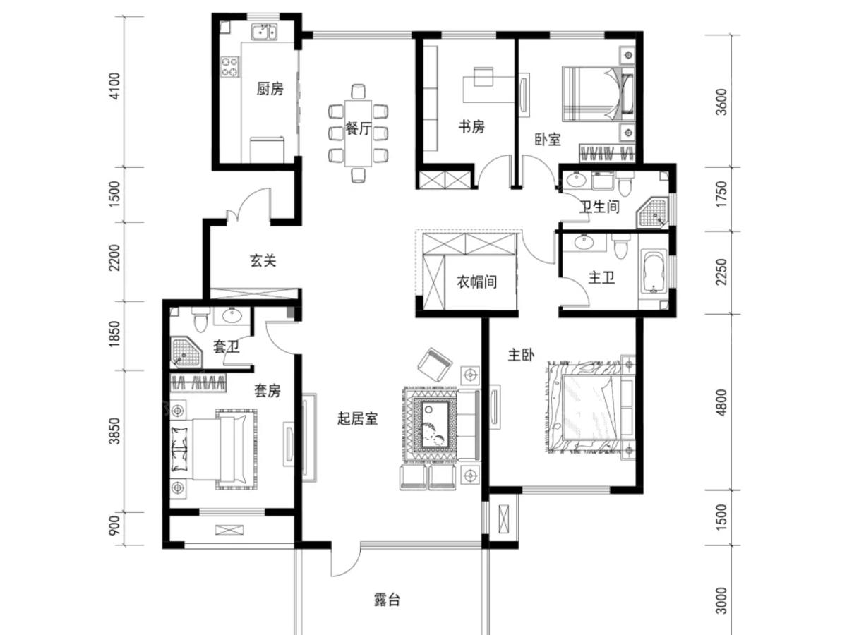新东方天地4室2厅2卫户型图