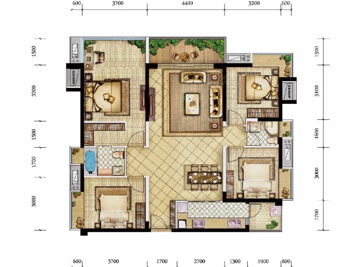 绵阳CBD万达三期天澜4室2厅2卫户型图