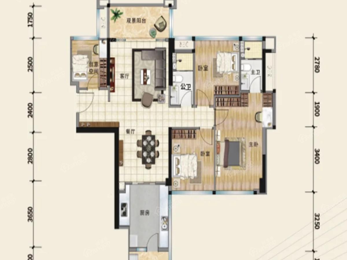 时代君悦4室2厅2卫户型图