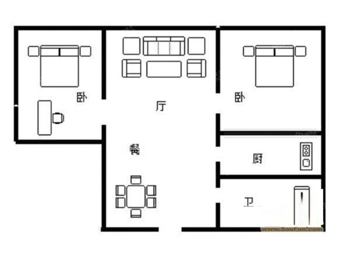 天和苑2室2厅1卫户型图