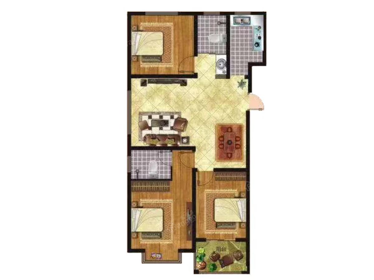 福麟盛世佳苑3室2厅2卫户型图