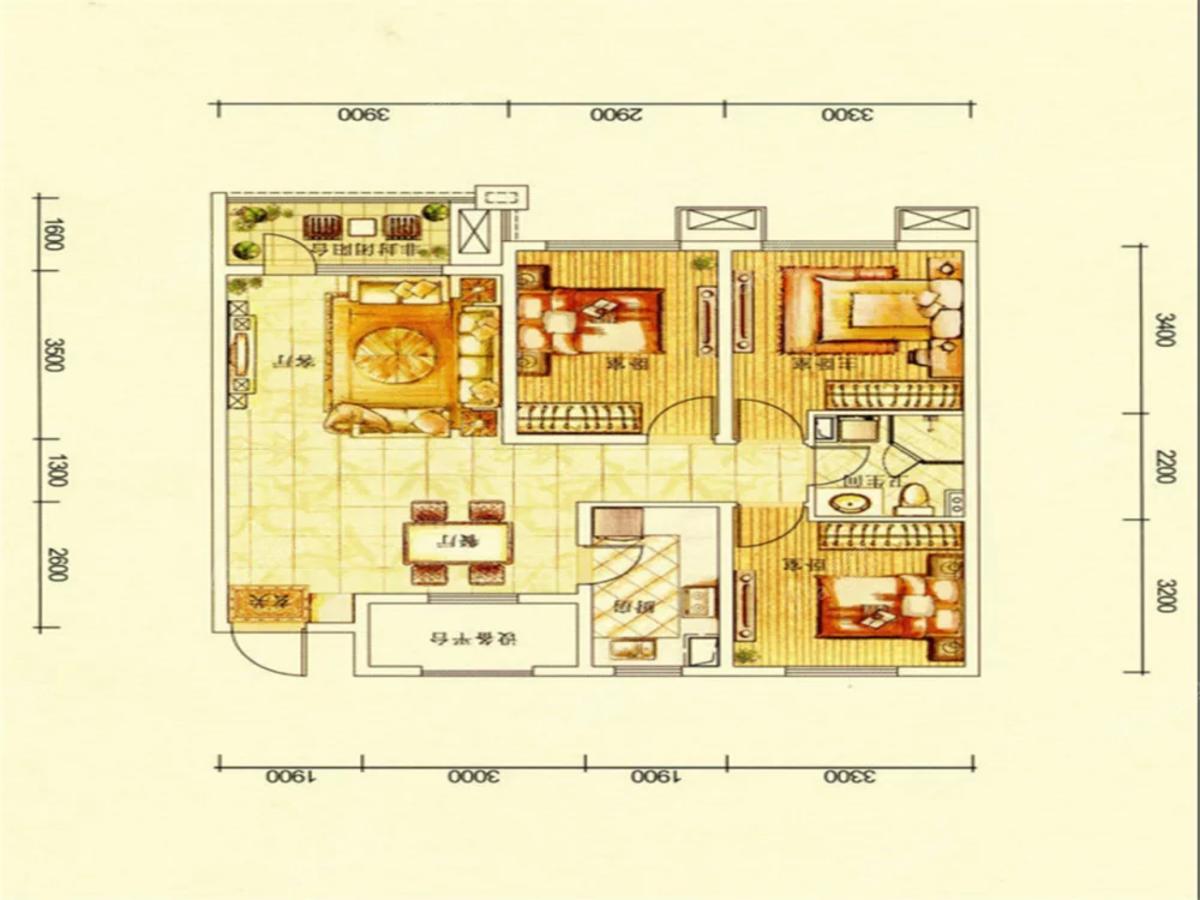 华润·幸福里3室2厅2卫户型图