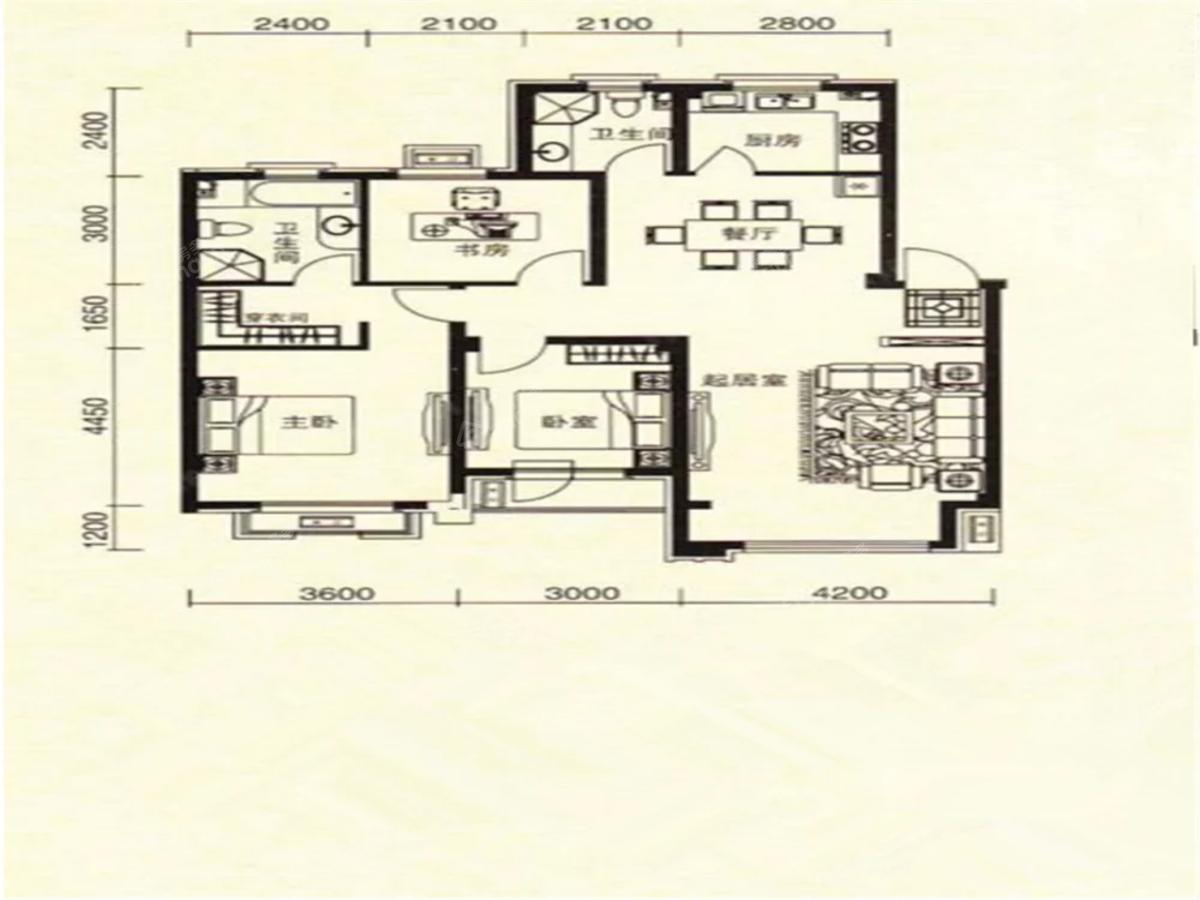 中冶玉峦湾3室2厅1卫户型图