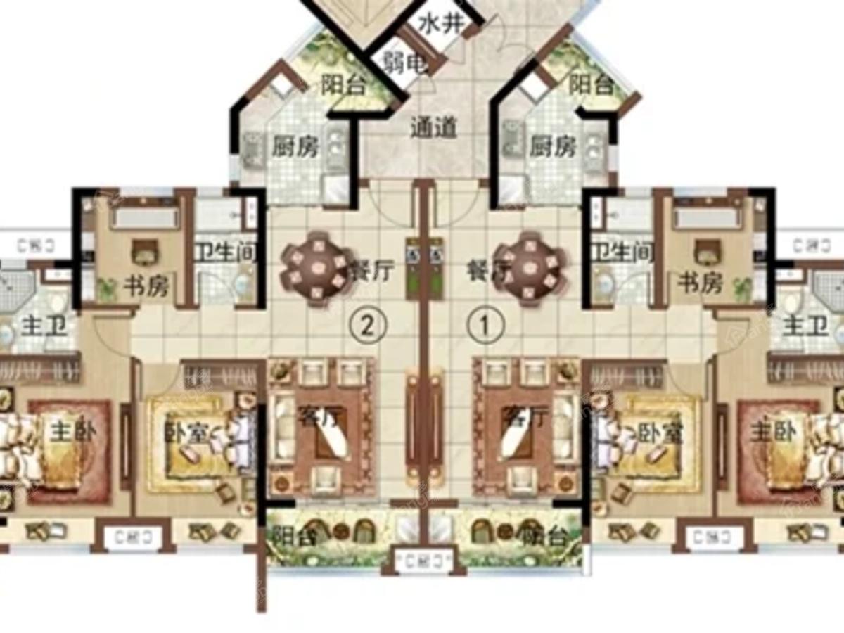 绿地新里海玥公馆3室2厅2卫户型图