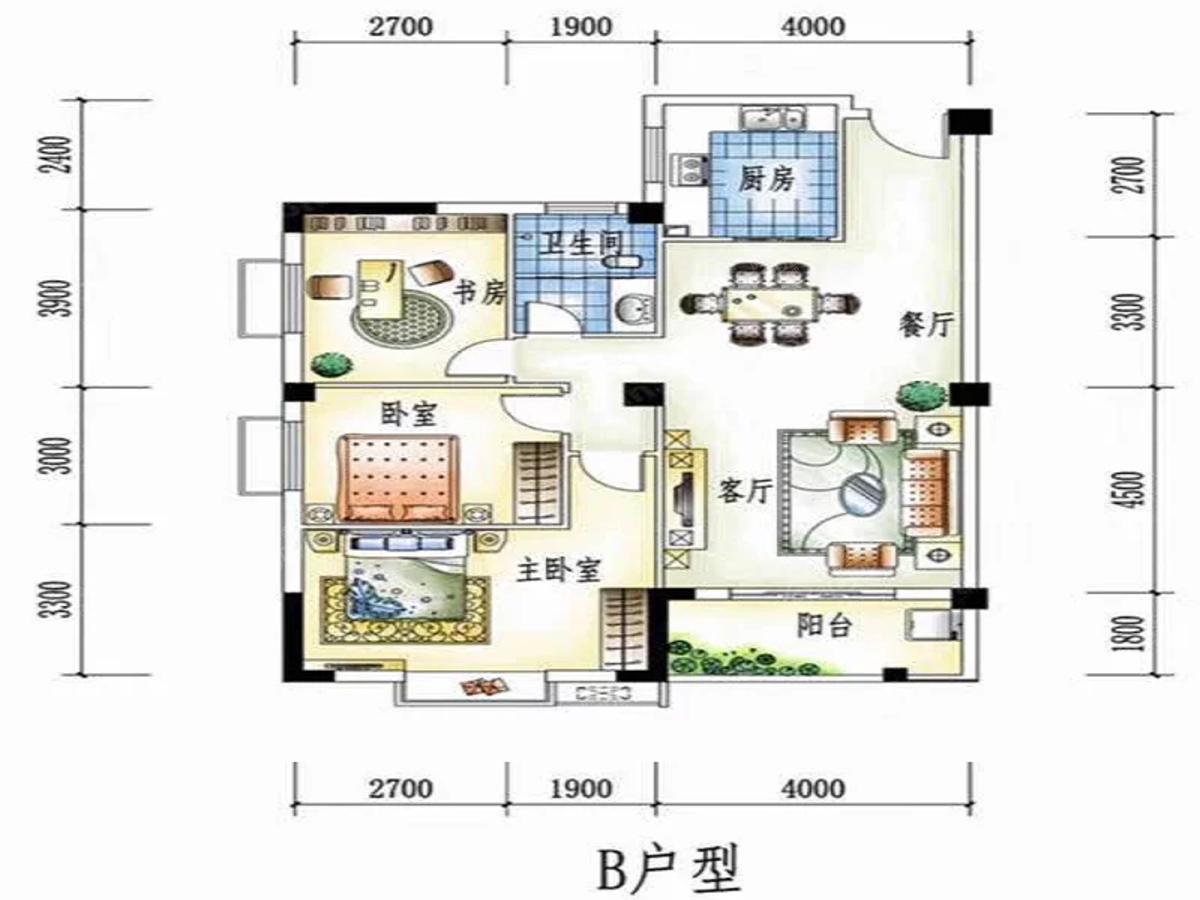 温泉香郡3室2厅1卫户型图