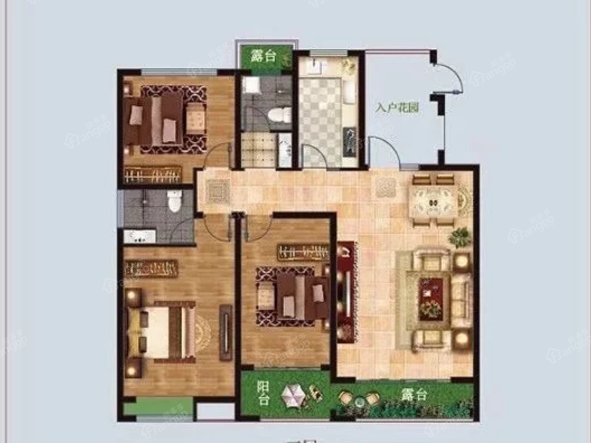 鹤壁麒麟郡3室2厅2卫户型图
