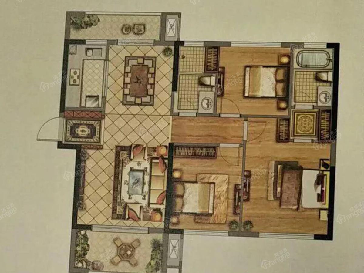 天润紫金郡3室2厅2卫户型图