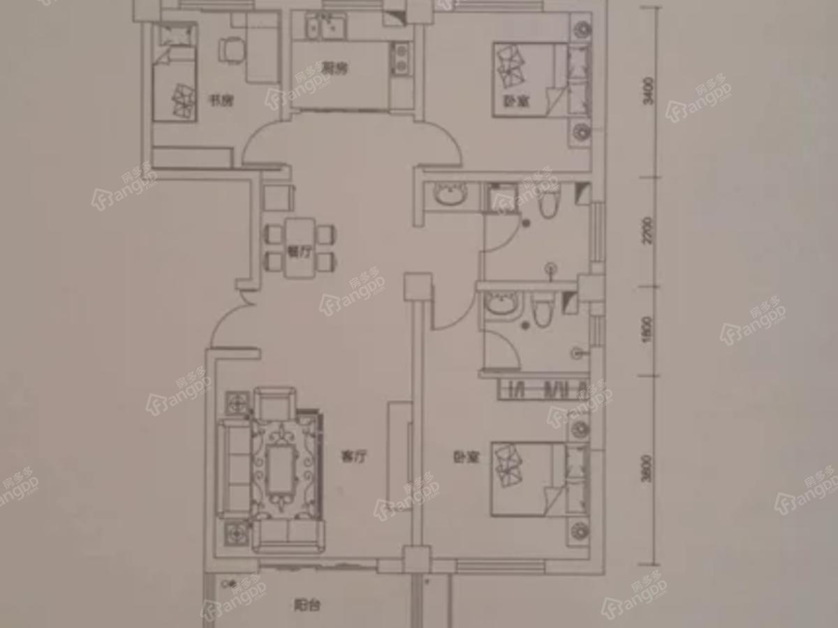 西美国际城3室2厅2卫户型图