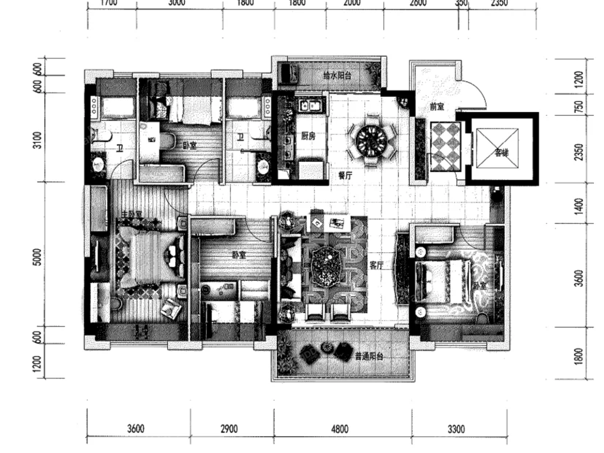 元谋碧桂园4室2厅2卫户型图