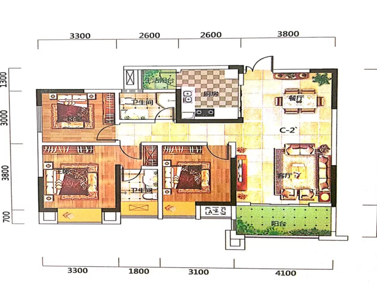 拓海·山语城3室2厅2卫户型图
