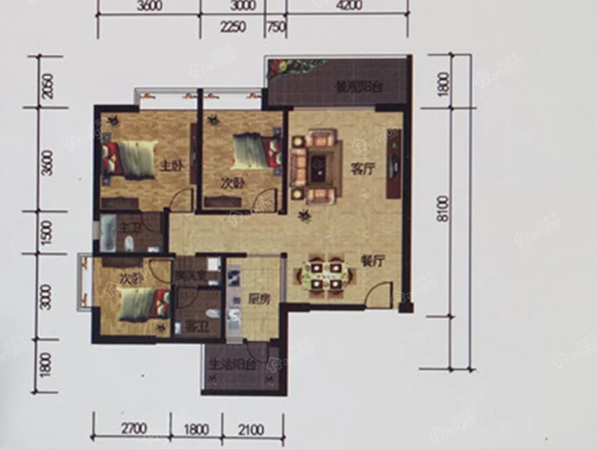 梓园3室2厅2卫户型图