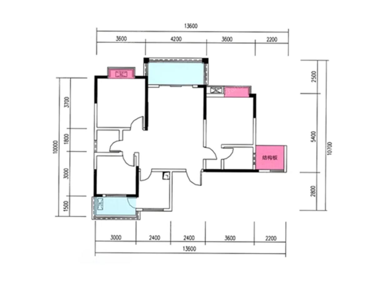阳光国际城3室2厅2卫户型图