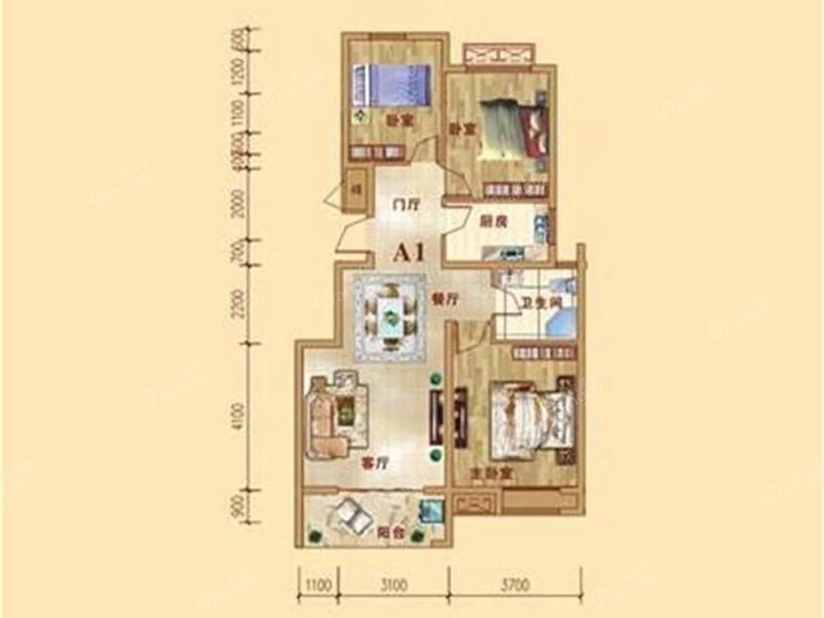 中原华府3室2厅1卫户型图