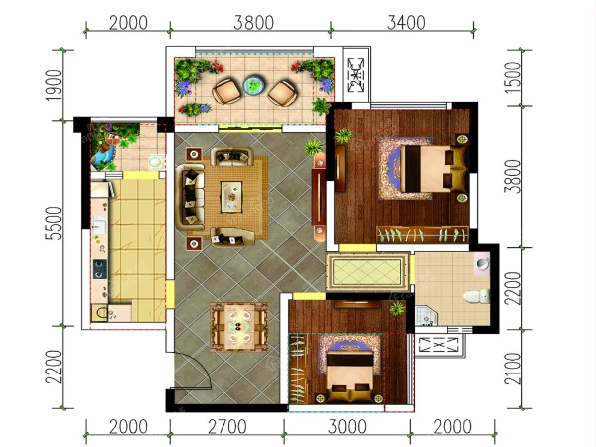 远达.未来城2室2厅2卫户型图