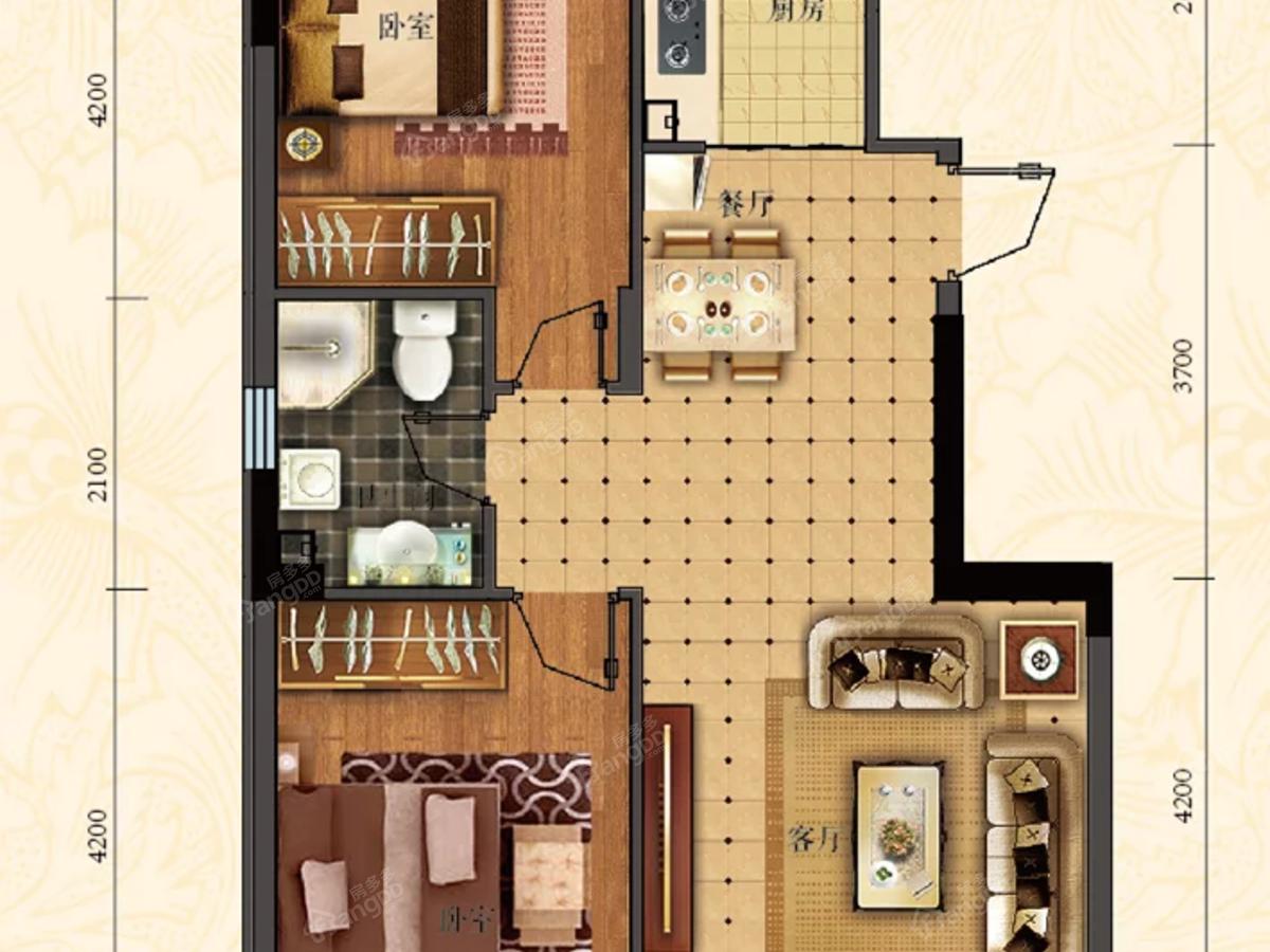 滨江理想华庭2室2厅1卫户型图